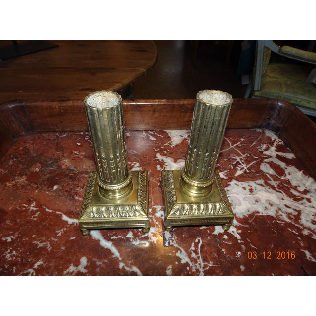 Pair of Brass Candle Holders For Sale - Image 10 of 10