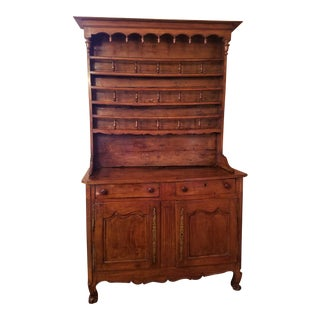 18th Century Walnut French Country Plate Cupboard For Sale