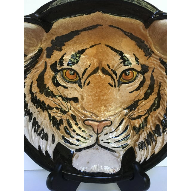 Mid-Century Large Tiger Face Pottery Bowl/Catchall - Made in Italy For Sale - Image 11 of 13