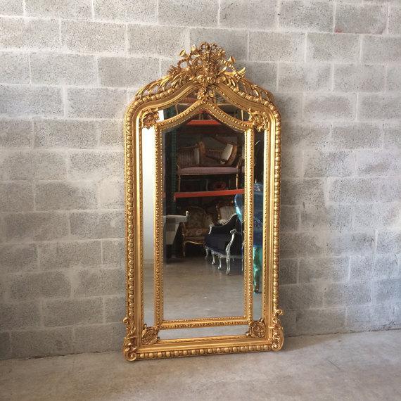 Baroque Style Heavy Floor Mirror   Chairish