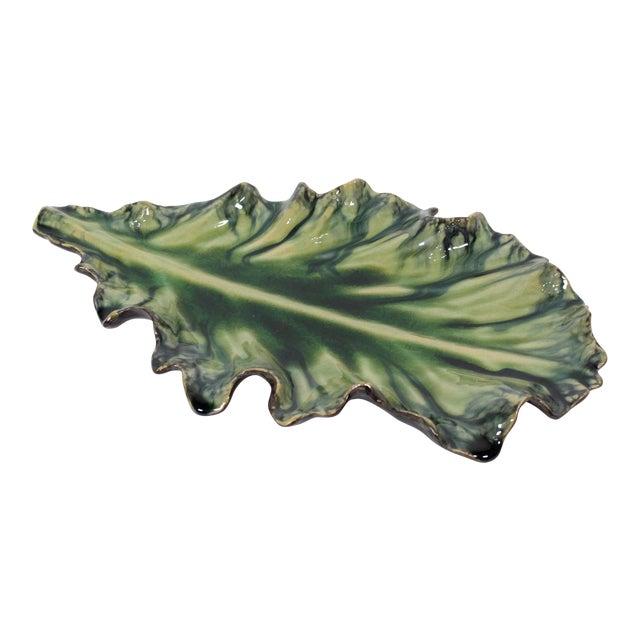 Large Acanthus Leaf Majolica Platter in Natural Green by Jardins en Fleur For Sale