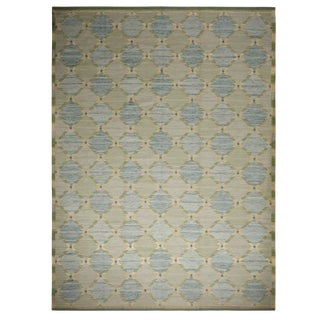 Rug & Kilim Scandinavian Inspired Green and Blue Geometric Wool Rug- 10′3″ × 13′10″ For Sale