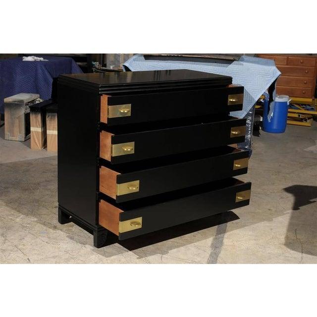 John Widdicomb Restored Widdicomb Modern Commode in Black Lacquer For Sale - Image 4 of 11