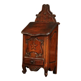 19th Century French Louis XV Carved Walnut Bombe Salt Box From Provence For Sale