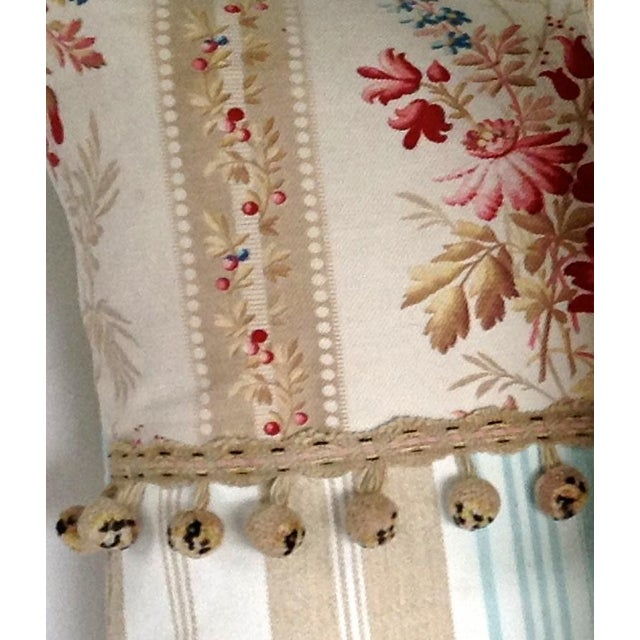19th Century French Floral & Linen Ticking Stripe Pillows With Pom-Poms - a Pair For Sale - Image 4 of 7