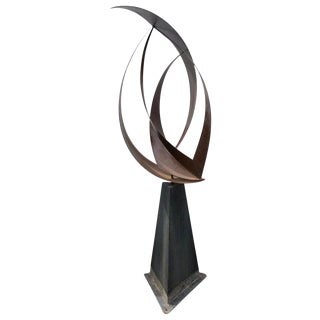 1970s Mid-Century Modern Abstract Iron Garden Sculpture For Sale