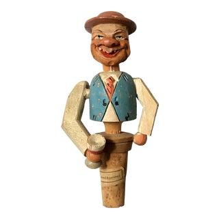German Hand Carved Drinking Man Bottle Cork For Sale