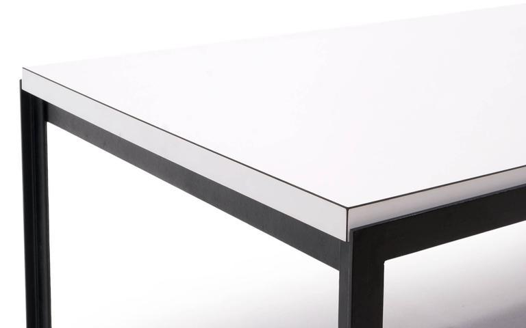 1950s Florence Knoll Coffee Table, White Laminate, Black Steel Frame For  Sale   Image