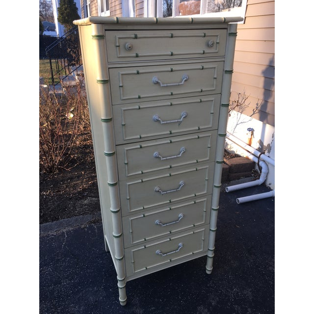 Green 1970's Boho Chic Thomasville Faux Bamboo Lingerie Chest For Sale - Image 8 of 10