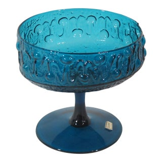 1960s Italian Blue Glass Compote For Sale