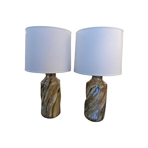 Ceramic Faux Marble Table Lamps - A Pair - Image 1 of 5
