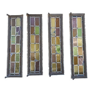 1920s Spanish Rondel Stainglass Windows - Set of 4 For Sale