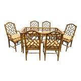 Image of Chippendale Faux Bamboo Dining Set 6 Chairs W/ Table For Sale