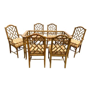 Chippendale Faux Bamboo Dining Set 6 Chairs W/ Table For Sale