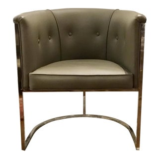 Contemporary Arteriors Gray Leather Calvin Side Chair For Sale