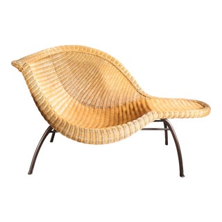 "Wicker Rattan Chaise Lounge in the Style of Mid Century Eames ""La Chaise"" For Sale"