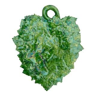 Vintage Green Portugese Leaf Platter For Sale