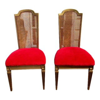 Vintage Hollywood Regency French Cane Side Chairs Provincial Rococo - a Pair