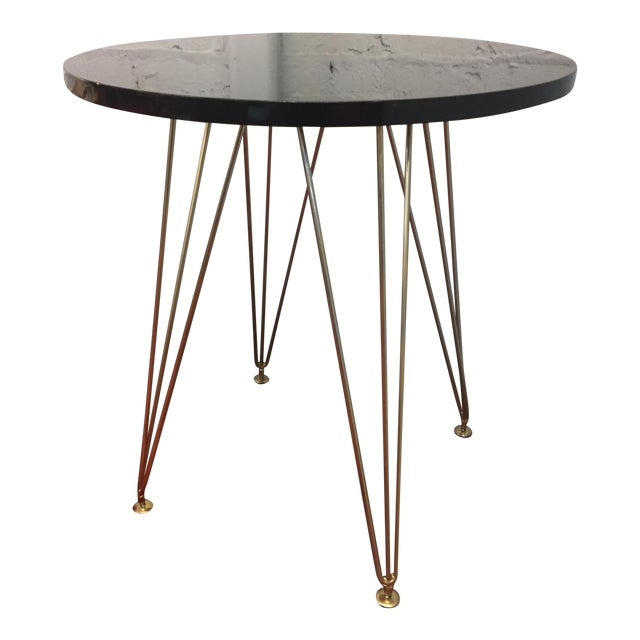 Mid century style black lacquer bistro table chairish for Mid century bistro table