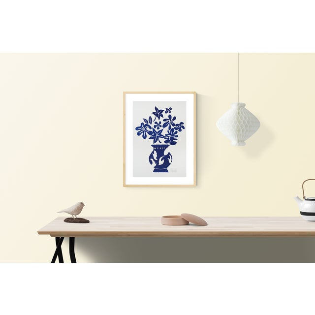 Marco del re- vase iv bleu: plate signed lithograph from a series of studies on vase and bouquet by marco del re. The...
