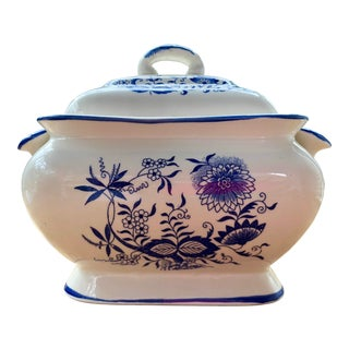 Vintage Mid Century Hand-Painted Blue Ceramic Danube Soup Tureen For Sale