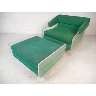 Mid-Century Modern Lucite Lounge Chair and Ottoman Preview