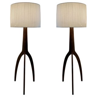 Pair of Vintage Style Tripod Floor Lamps For Sale