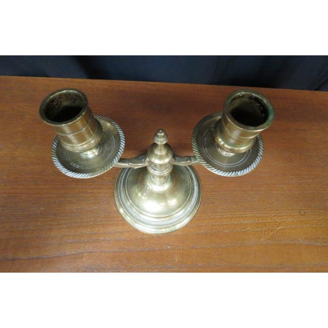 Traditional Antique 1930s Belgium Solid Brass Double Candlestick For Sale - Image 3 of 6