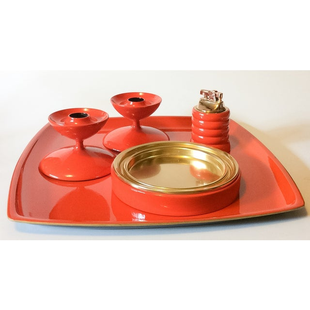 MCM Bright Orange Lacquer Serving Tray - Image 3 of 3