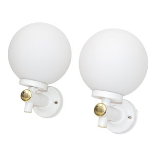Mid-Century Modern French White Enamel & Brass Opaline Glass Sconces - Pair For Sale