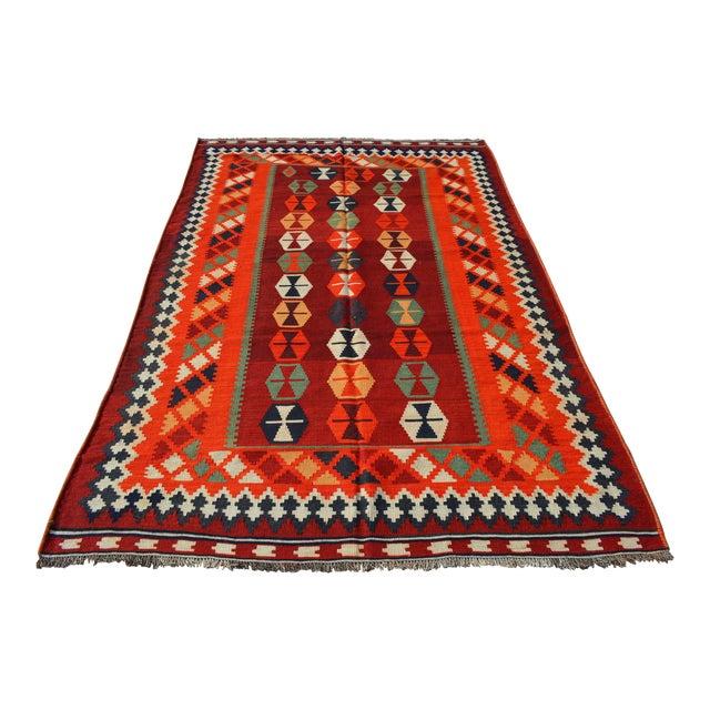 Persian Handwoven Shirazi Red & Orange Kilim Wool Rug - 5′3″ × 8′3″ For Sale