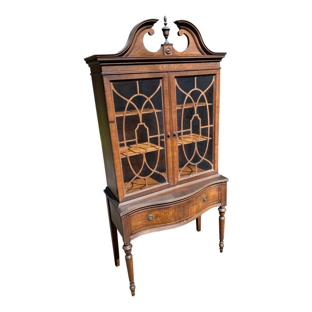Vintage Mahogany Chippendale Curio Display Cabinet For Sale