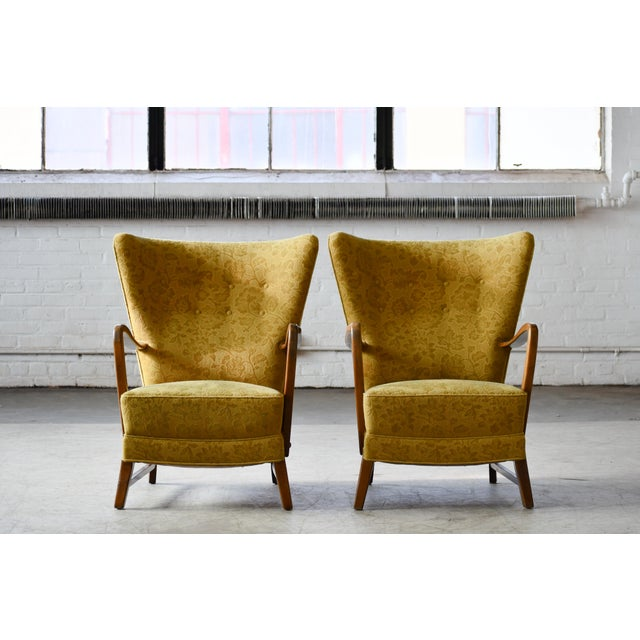 Mid-Century Modern Danish 1940s Midcentury Fritz Hansen Style High Back Lounge Chairs - a Pair For Sale - Image 3 of 9