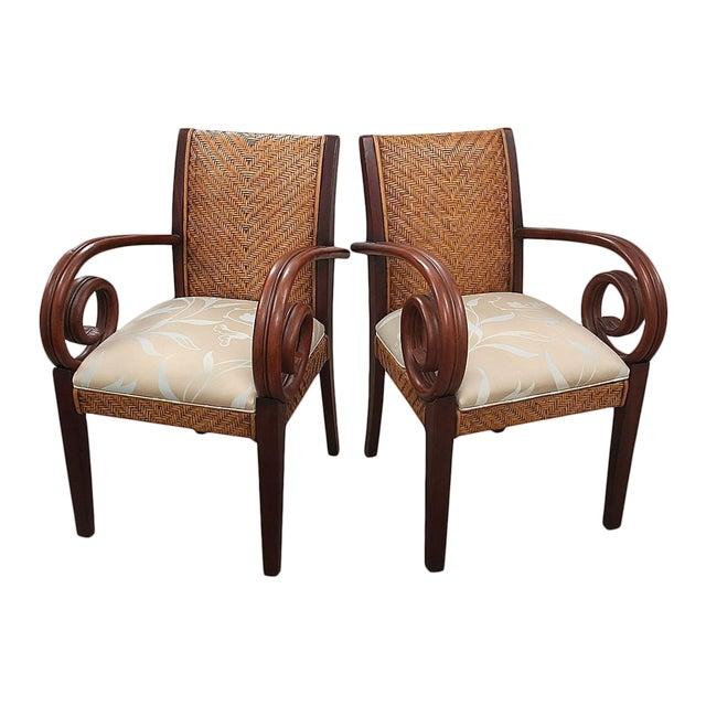 Superb Padmas Plantation Rattan Scroll Arm Accent Chairs A Pair Uwap Interior Chair Design Uwaporg