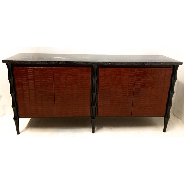 Billy Baldwin Style Faux Crocodile Credenza or Sideboard For Sale - Image 9 of 11
