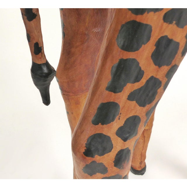 4 Foot Tall Leather Giraffe Sculpture For Sale - Image 9 of 11
