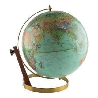 1960's Atomic Globe on Brass and Walnut Base For Sale