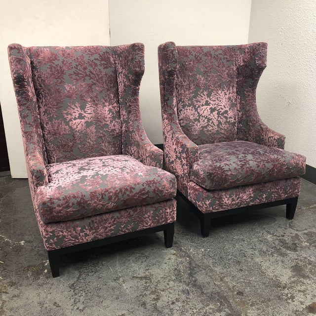 Bernhardt Pascal Contemporary Wingback Chairs - a Pair - Image 2 of 11