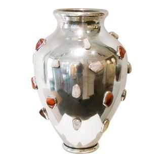 Arrigo Finzi - Silver Vase With Rock Crystal and Gemstones, Italy, Circa 1950