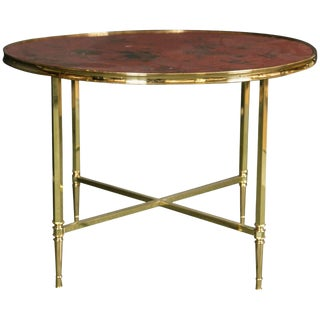 French Polished Brass Coffee Table With Lacquered Chinoiserie Top For Sale