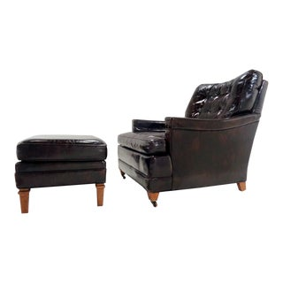 Mid Century Italian Leather Vignola Club Chair & Ottoman For Sale