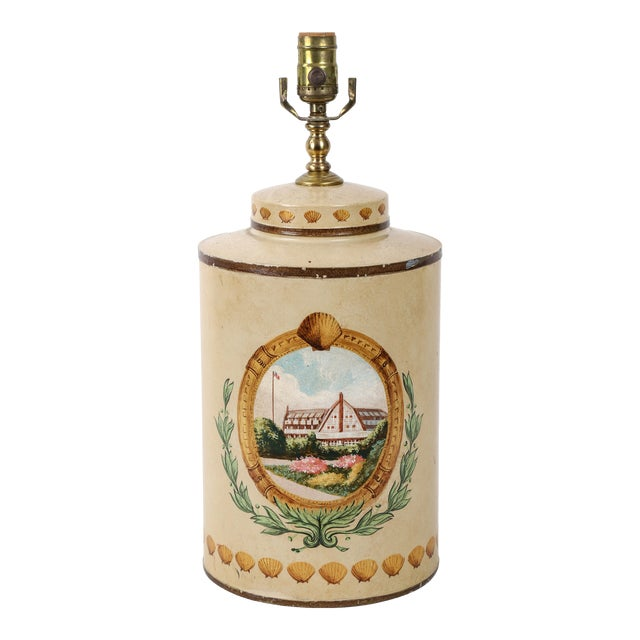 Hand Painted Hotel Landscape Design Tea Caddy Lamp For Sale