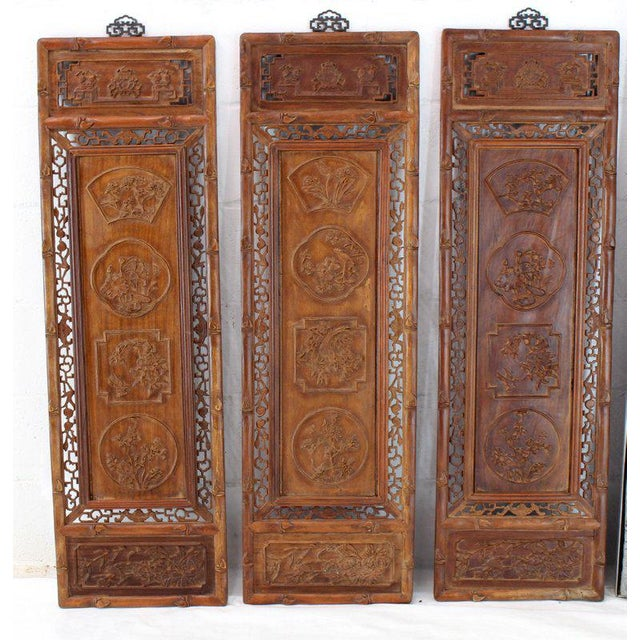 Teak 1920s Asian Carved Wall Panels - Set of 3 For Sale - Image 7 of 8