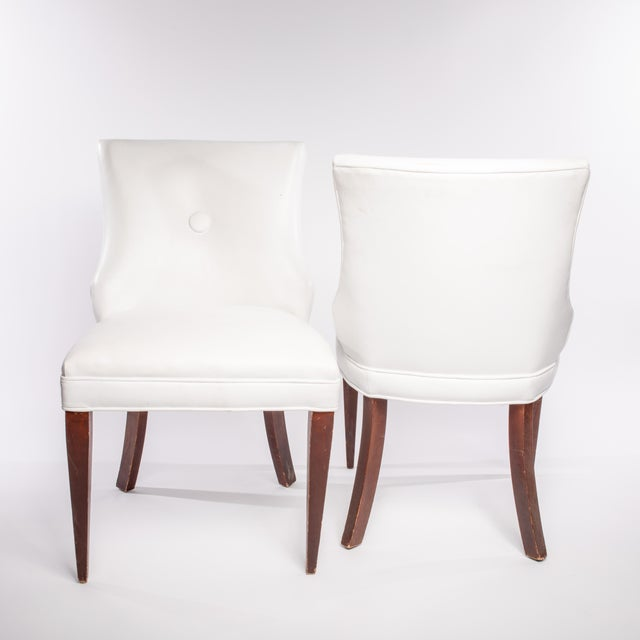 Vintage French Leather Side Chairs- A Pair For Sale - Image 4 of 5