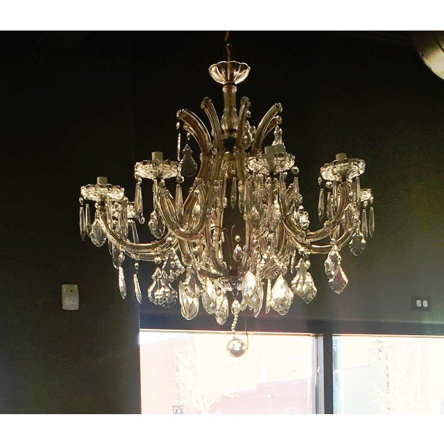 1940s Large Italian Maria Theresa Style Nine-Arm Crystal Chandelier Re-Wired For Sale - Image 4 of 6