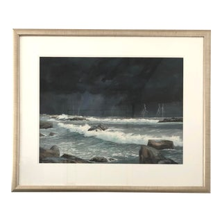 "Late 20th Century ""Lightning Strikes"" Watercolor Painting by Frank McCoy, Framed For Sale"