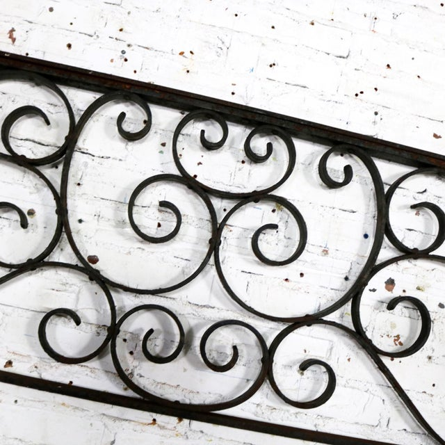 Antique Swirled Design Wrought Iron Railing Piece Trellis or Fence Section For Sale - Image 11 of 13
