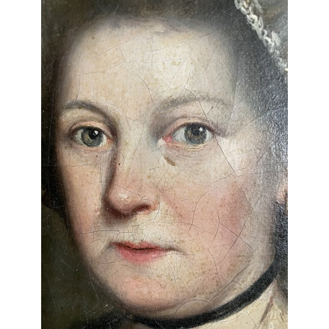 Late 18th Century English Portrait of a Lady Oil Painting Attributed to John Russell, Framed For Sale - Image 4 of 13