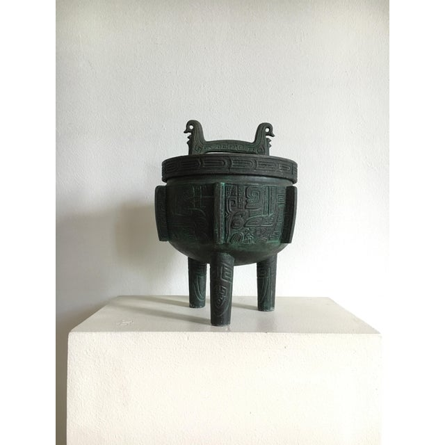 Asian James Mont Style Faux Bronze Verdigris Ice Bucket For Sale - Image 3 of 7