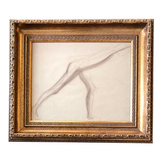 Original Deco Sepia Abstract Nude Study Drawing For Sale